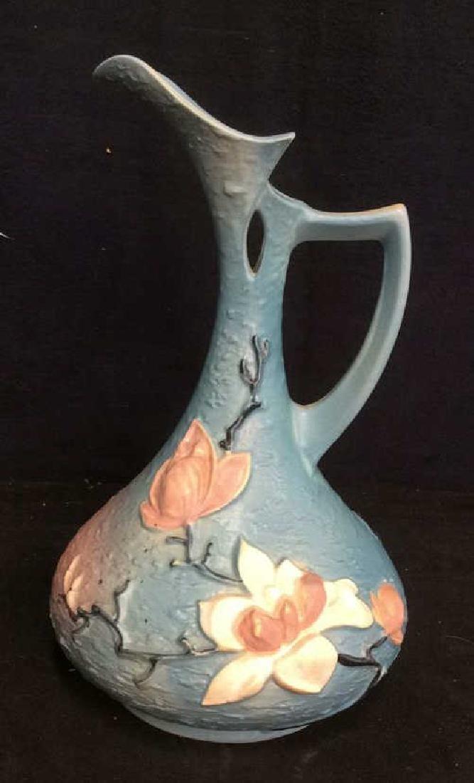 Roseville USA Blue Flowered Ewer Pitcher - 2