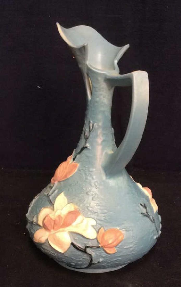 Roseville USA Blue Flowered Ewer Pitcher - 7