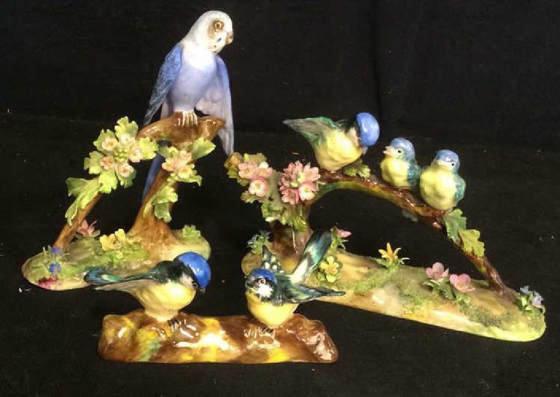 3 Porcelain Bird Figurals , Staffordshire