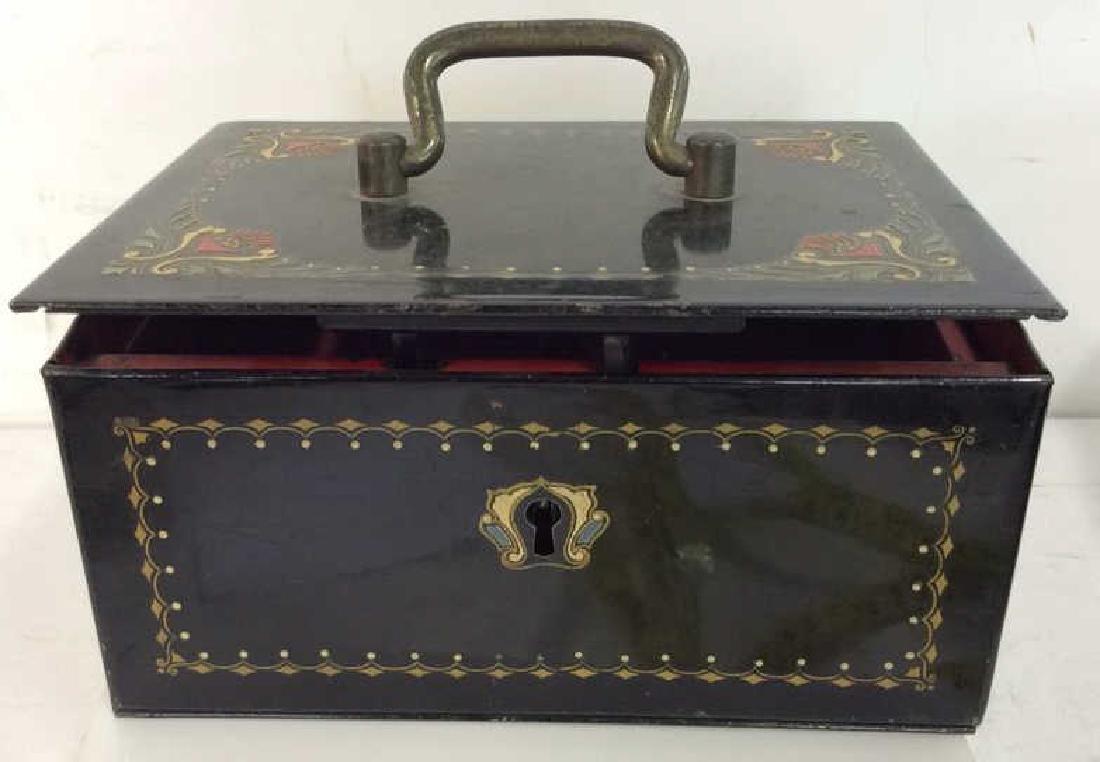 German Black Toned Painted Metal Card Box
