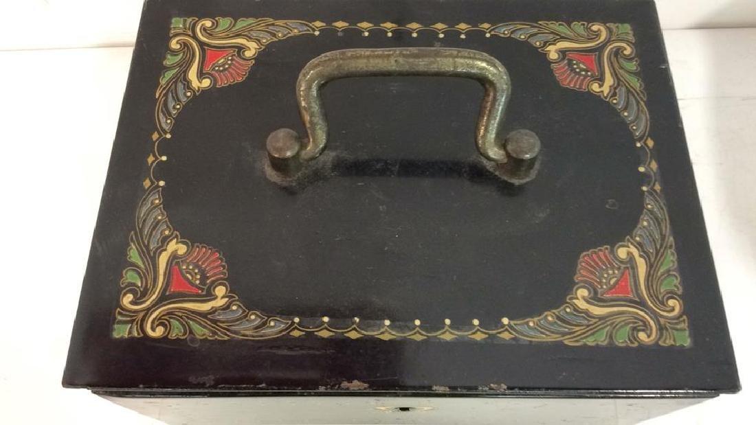 German Black Toned Painted Metal Card Box - 2