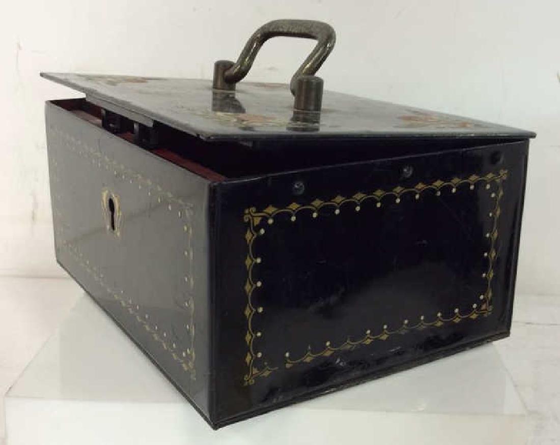 German Black Toned Painted Metal Card Box - 4