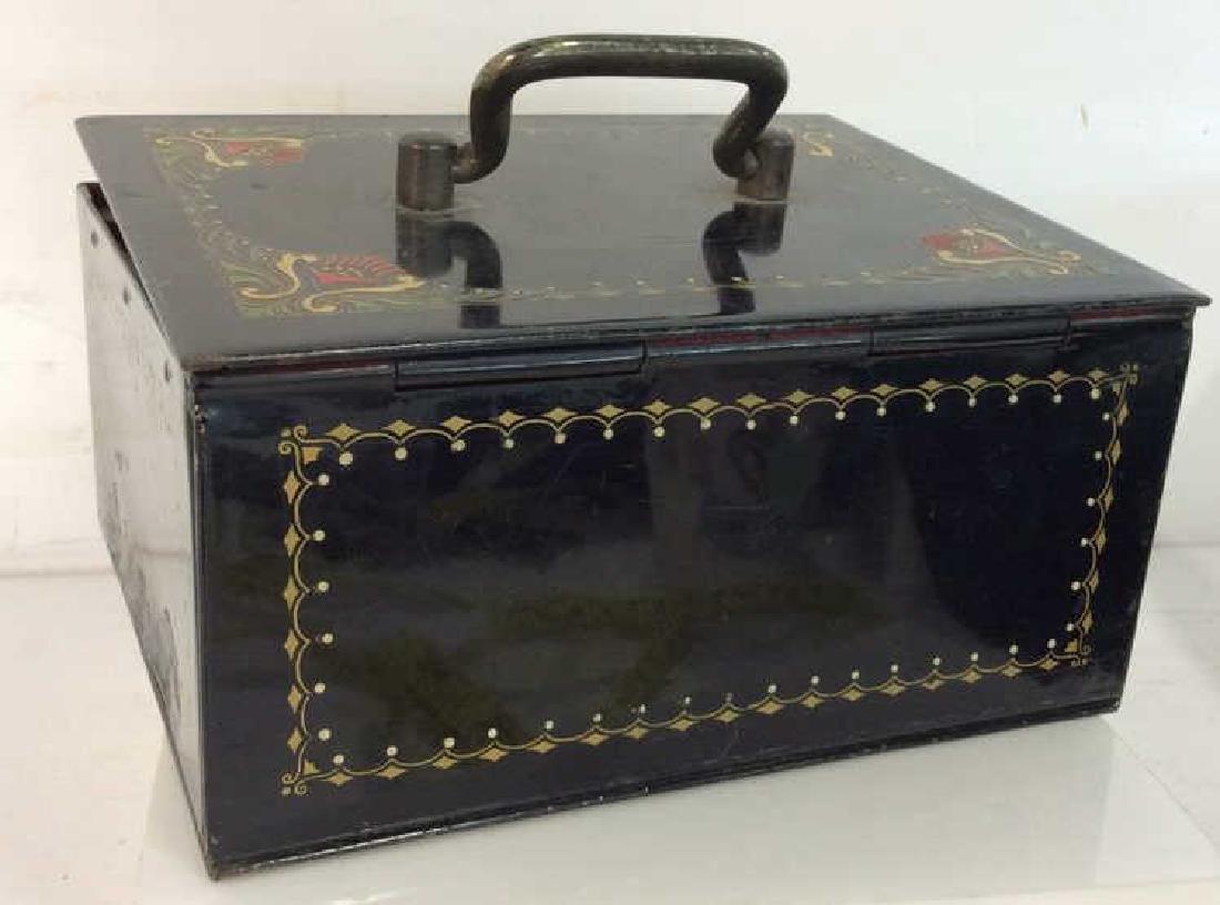 German Black Toned Painted Metal Card Box - 6
