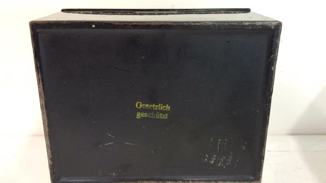 German Black Toned Painted Metal Card Box - 7