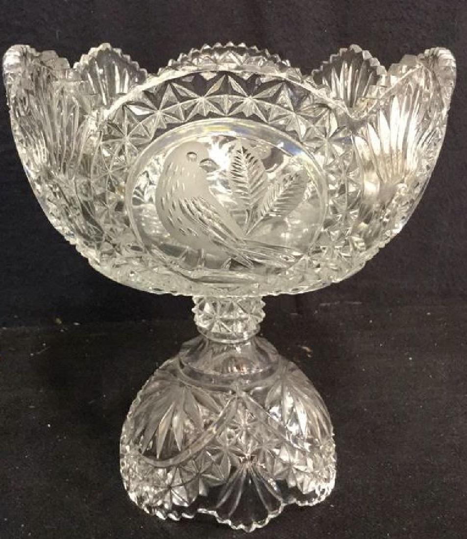 Pedestal Cut Crystal Tooth Edged  Centerpiece