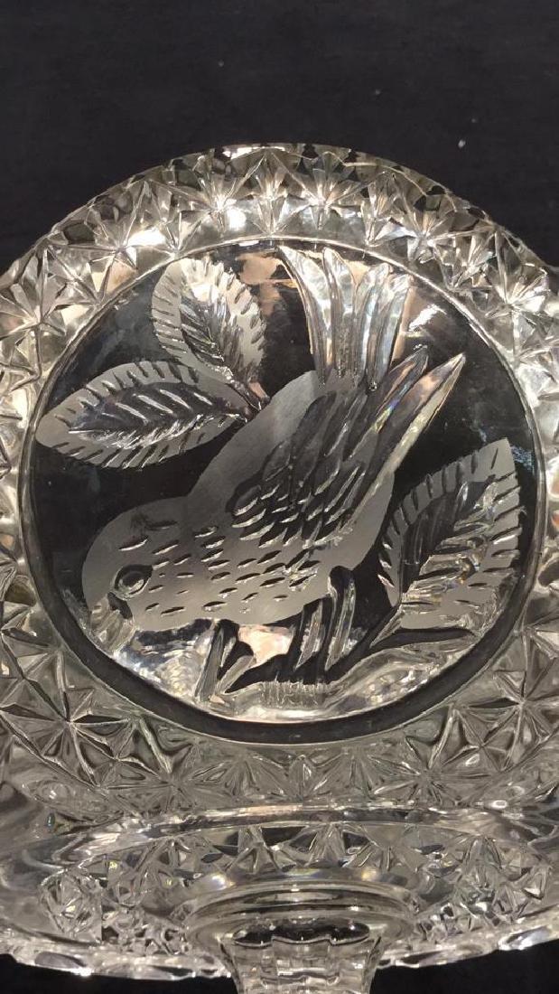 Pedestal Cut Crystal Tooth Edged  Centerpiece - 8