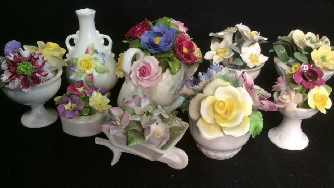 Lot 9 Capodimonte Italian Porcelain Florals - 2