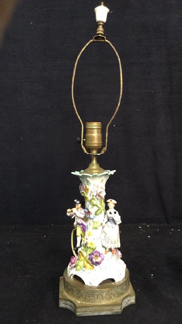 Porcelain Figural & Brass Lamp W Shade - 10