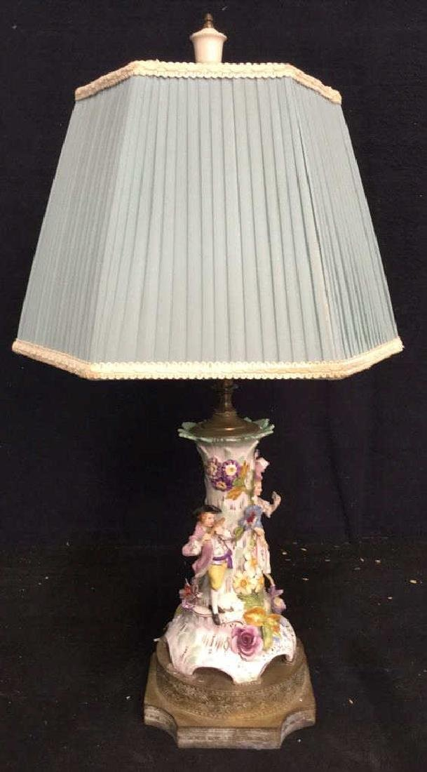 Porcelain Figural & Brass Lamp W Shade