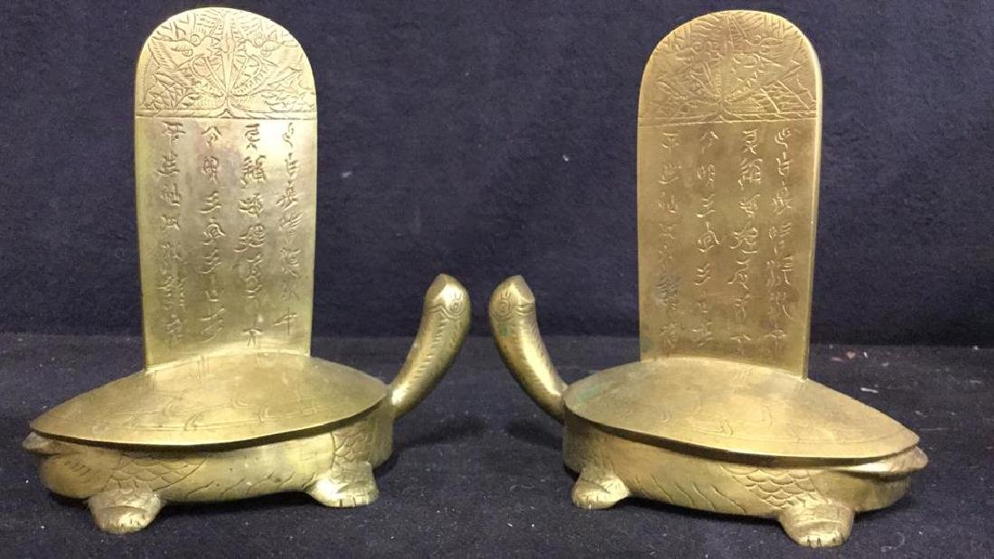 Oriental Gold Toned Brass Turtle Bookends