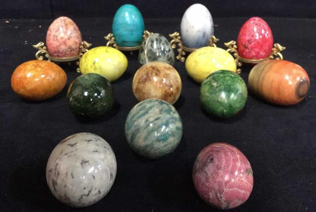 Lot 19 Polished Stone Marble Eggs & Stands