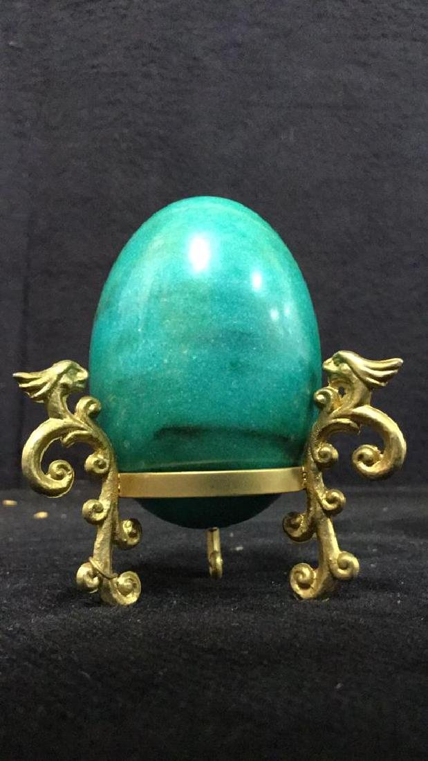 Lot 19 Polished Stone Marble Eggs & Stands - 3