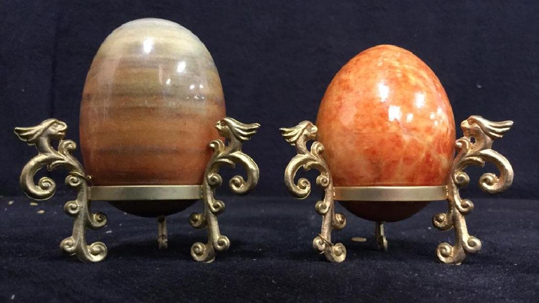 Lot 19 Polished Stone Marble Eggs & Stands - 8
