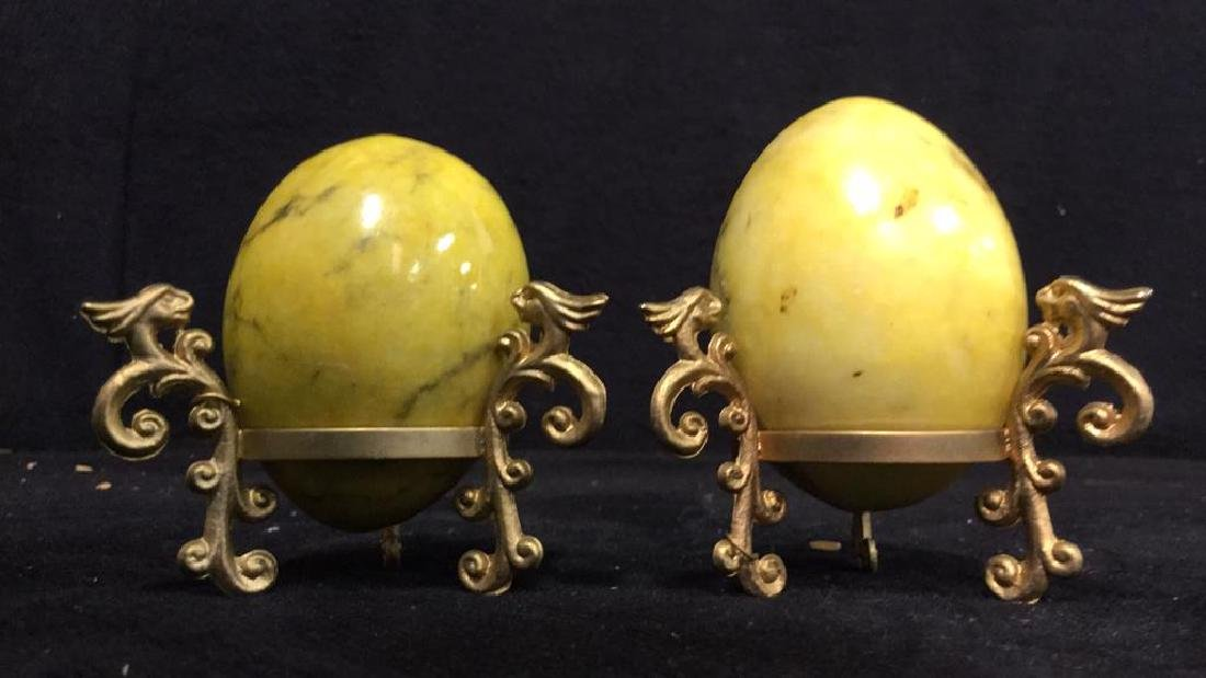 Lot 19 Polished Stone Marble Eggs & Stands - 9