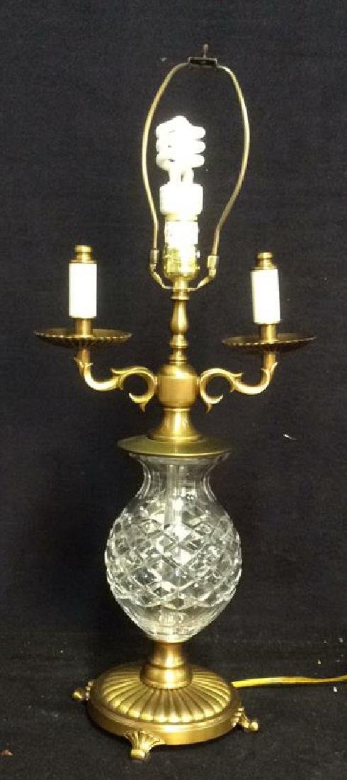 Crystal and Brass Vintage  Lamp