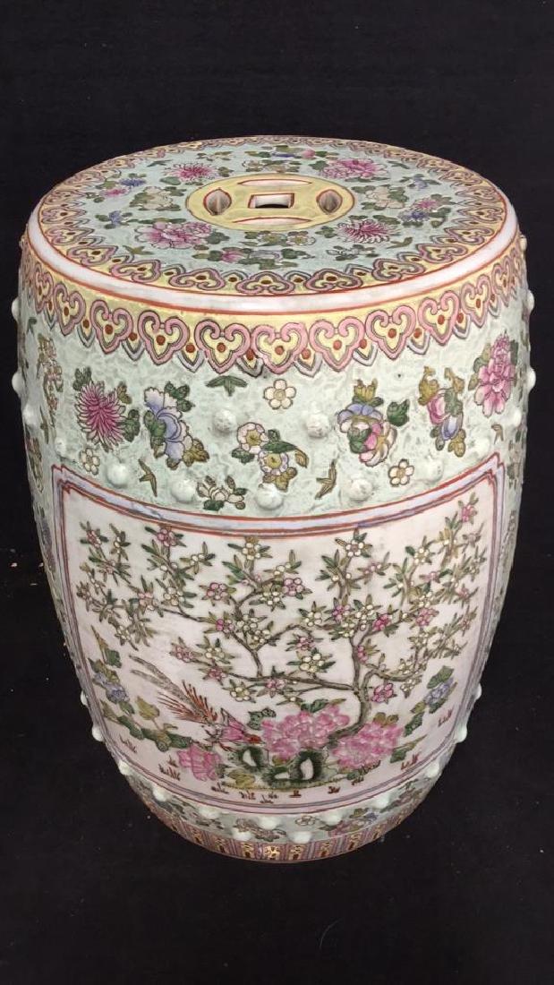 Vintage Oriental Porcelain Garden Stool - 3