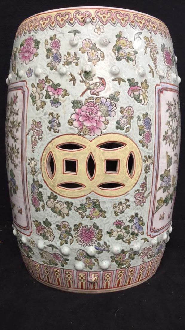 Vintage Oriental Porcelain Garden Stool - 5