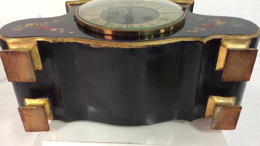 Black Toned Metal Painted Mantle Clock - 10