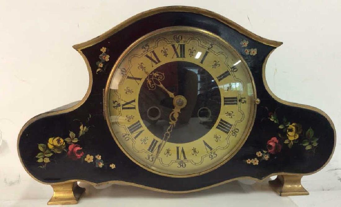 Black Toned Metal Painted Mantle Clock