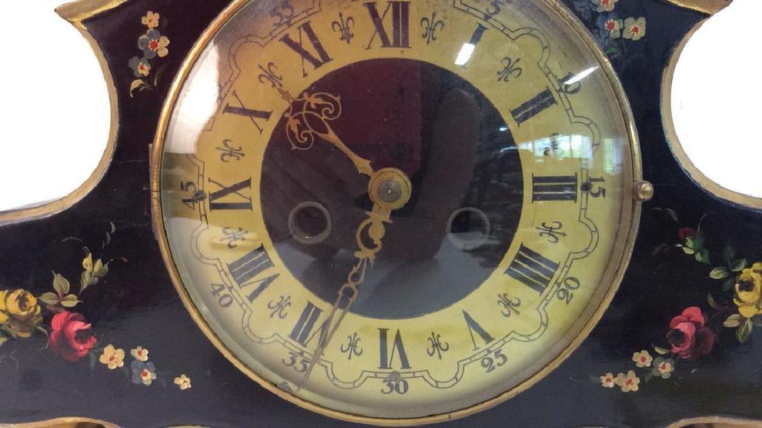 Black Toned Metal Painted Mantle Clock - 2