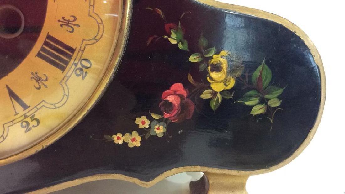 Black Toned Metal Painted Mantle Clock - 3