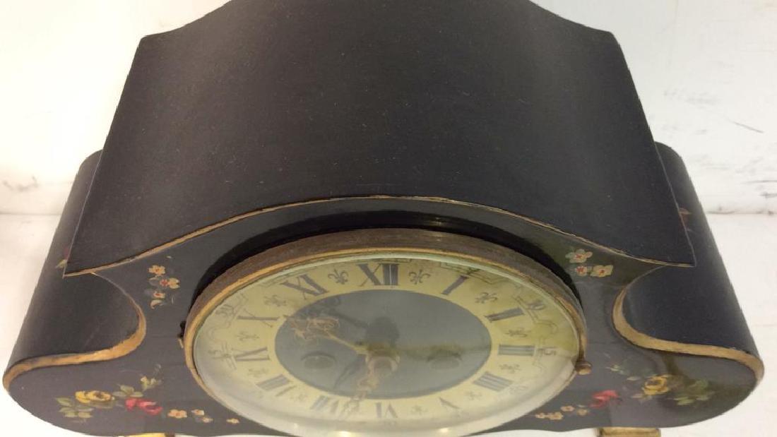 Black Toned Metal Painted Mantle Clock - 4