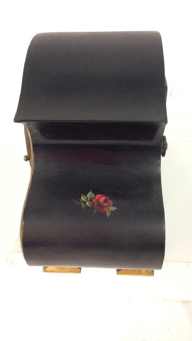Black Toned Metal Painted Mantle Clock - 5
