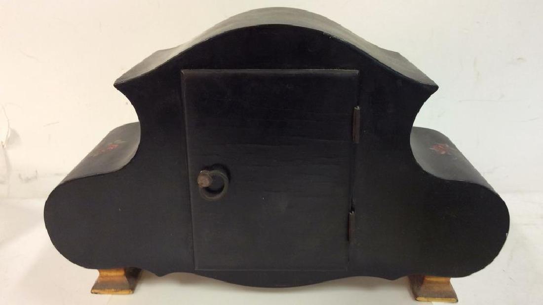 Black Toned Metal Painted Mantle Clock - 6