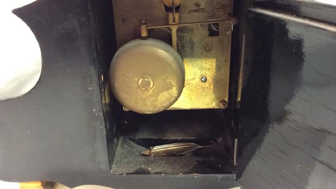 Black Toned Metal Painted Mantle Clock - 7