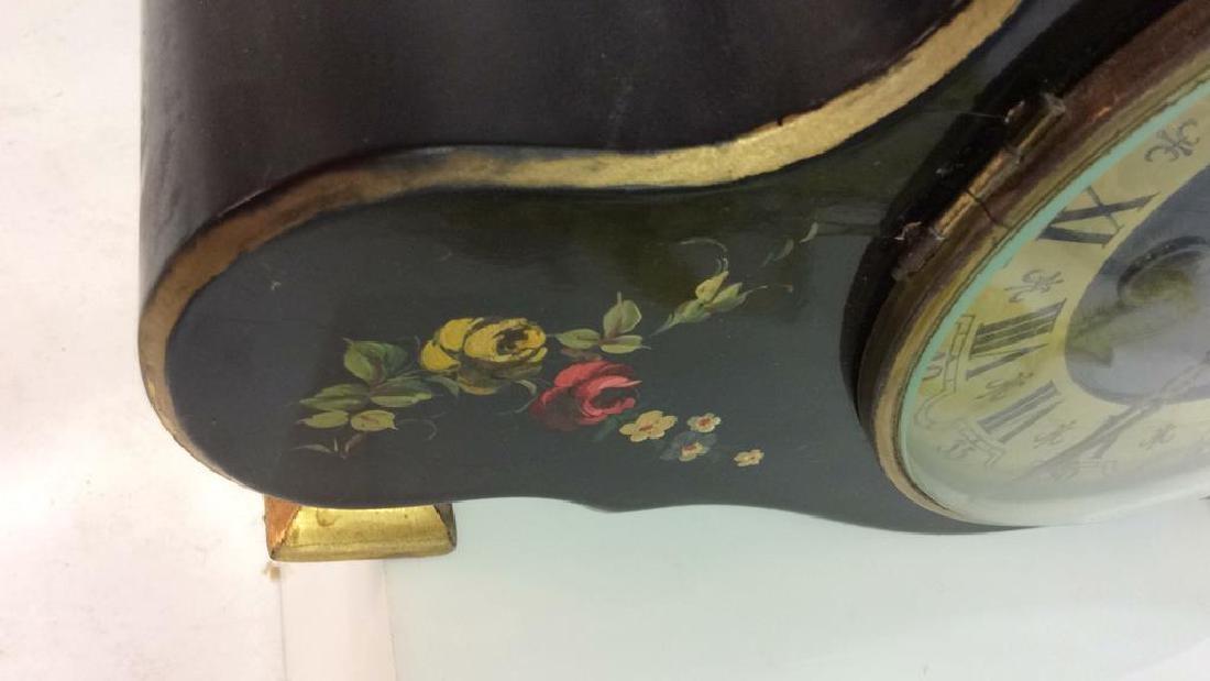 Black Toned Metal Painted Mantle Clock - 9