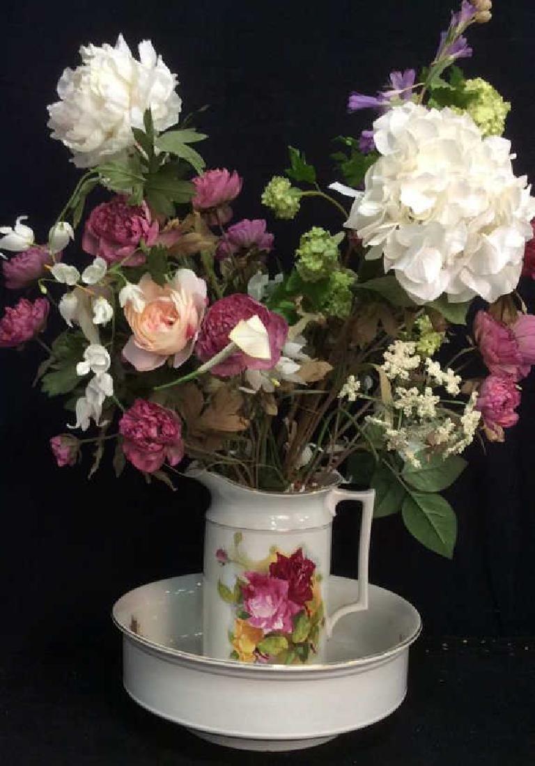 Antique Floral  Design Wash Basin with Pitcher