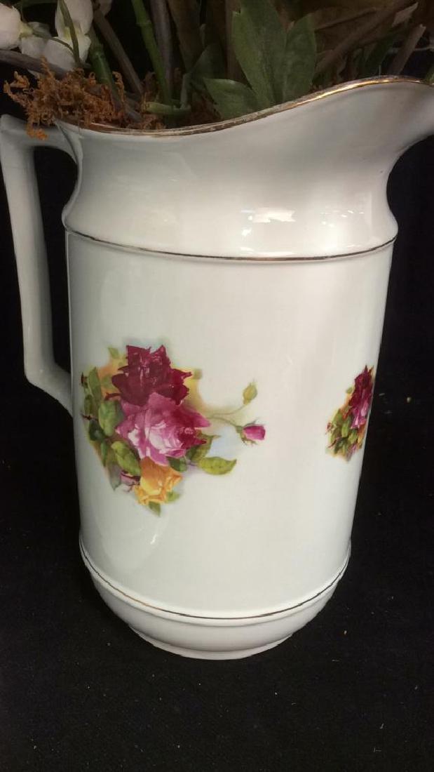 Antique Floral  Design Wash Basin with Pitcher - 6