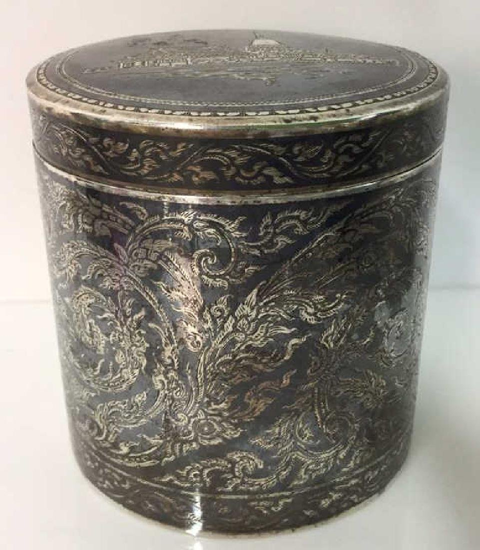Ornate Silver Cylindrical Lidded Opium Box