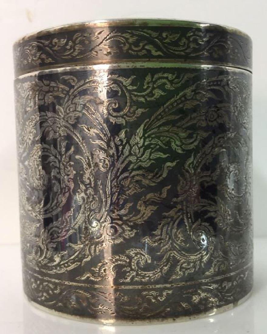 Ornate Silver Cylindrical Lidded Opium Box - 2