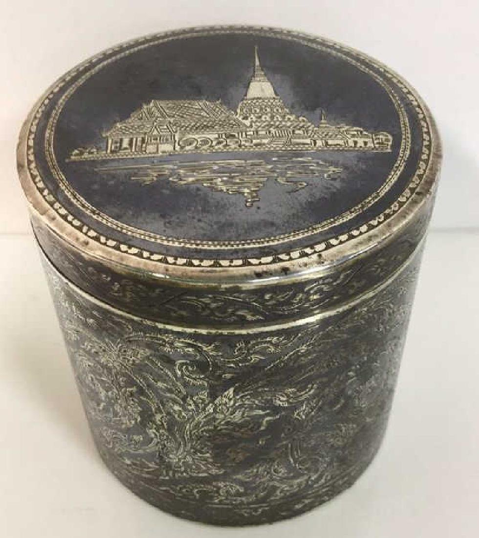 Ornate Silver Cylindrical Lidded Opium Box - 3