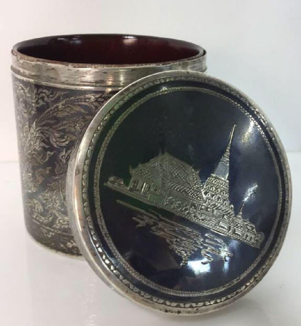 Ornate Silver Cylindrical Lidded Opium Box - 6