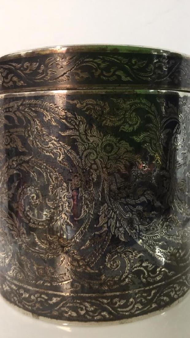 Ornate Silver Cylindrical Lidded Opium Box - 7