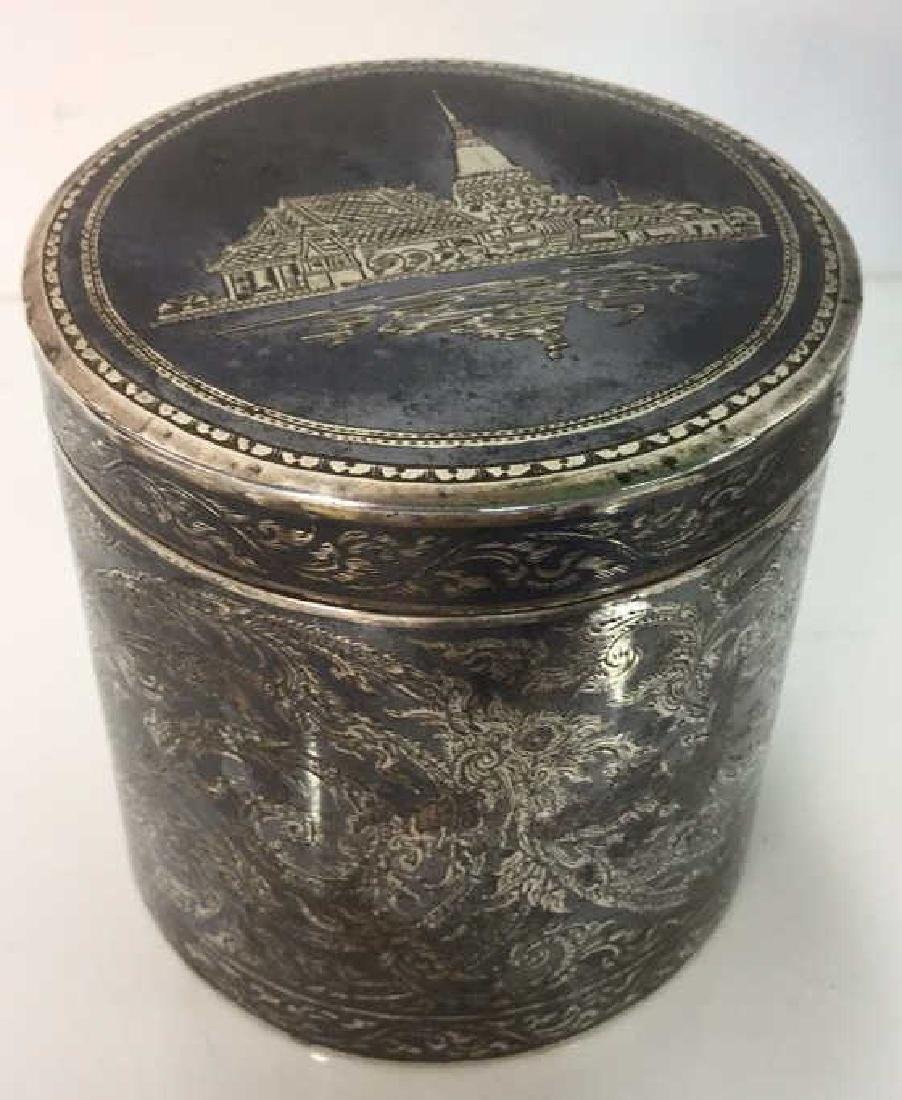 Ornate Silver Cylindrical Lidded Opium Box - 8