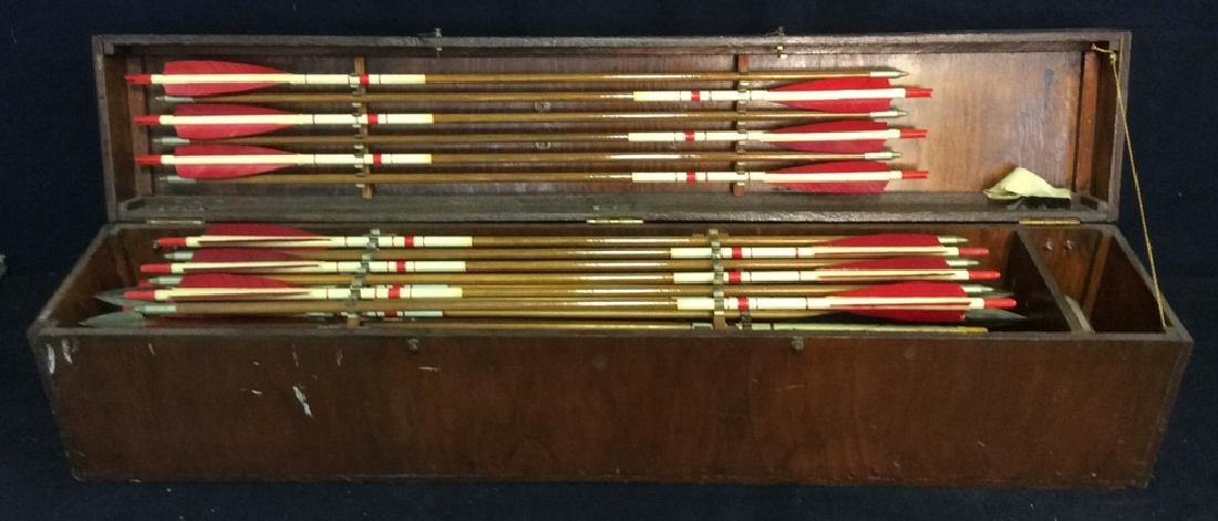 Set Of 29 Vintage Antique Wooden Arrows w Box.