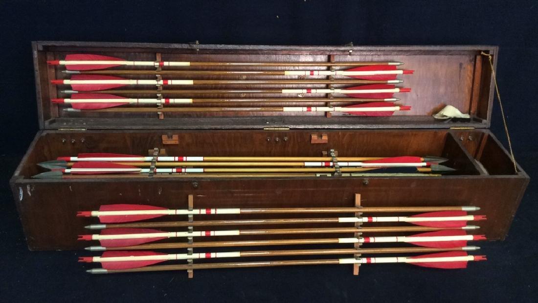 Set Of 29 Vintage Antique Wooden Arrows w Box. - 6
