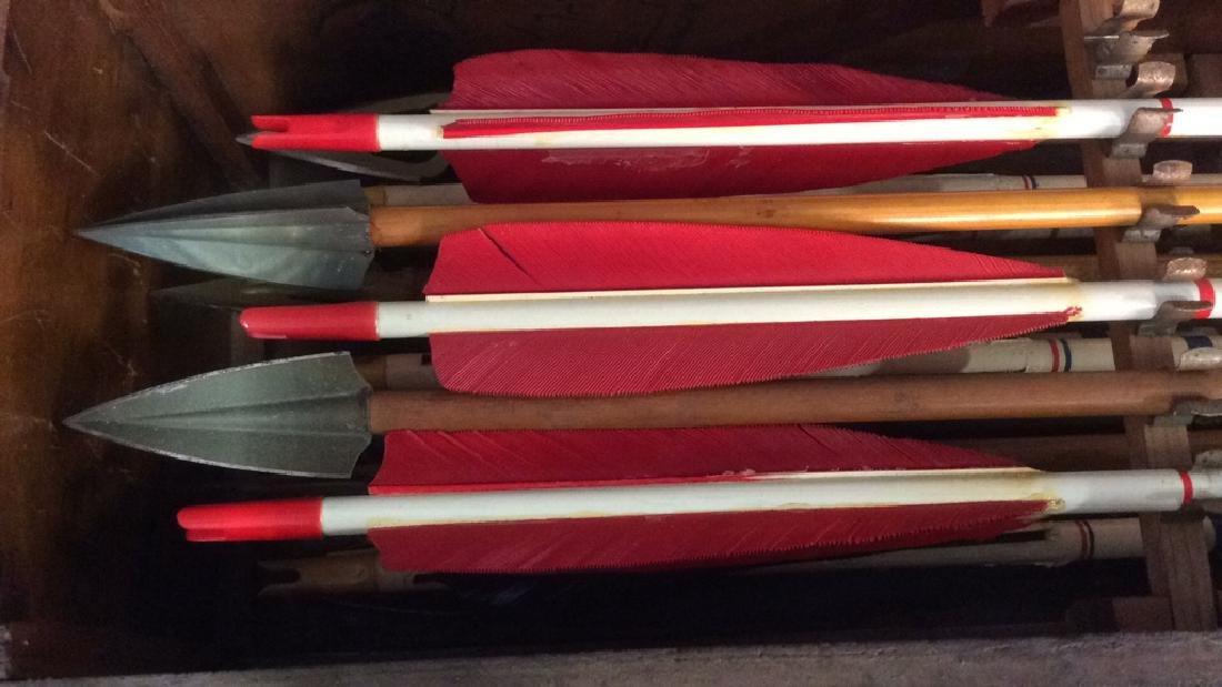 Set Of 29 Vintage Antique Wooden Arrows w Box. - 8