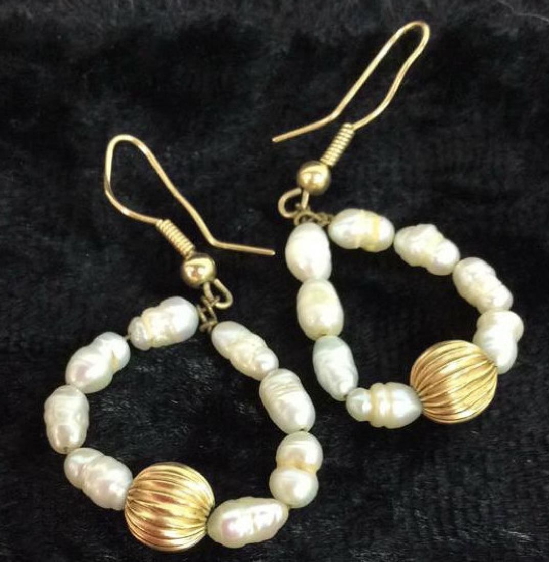 Lot 3 Pearl And Gold Toned Metal Women's Jewelry - 3