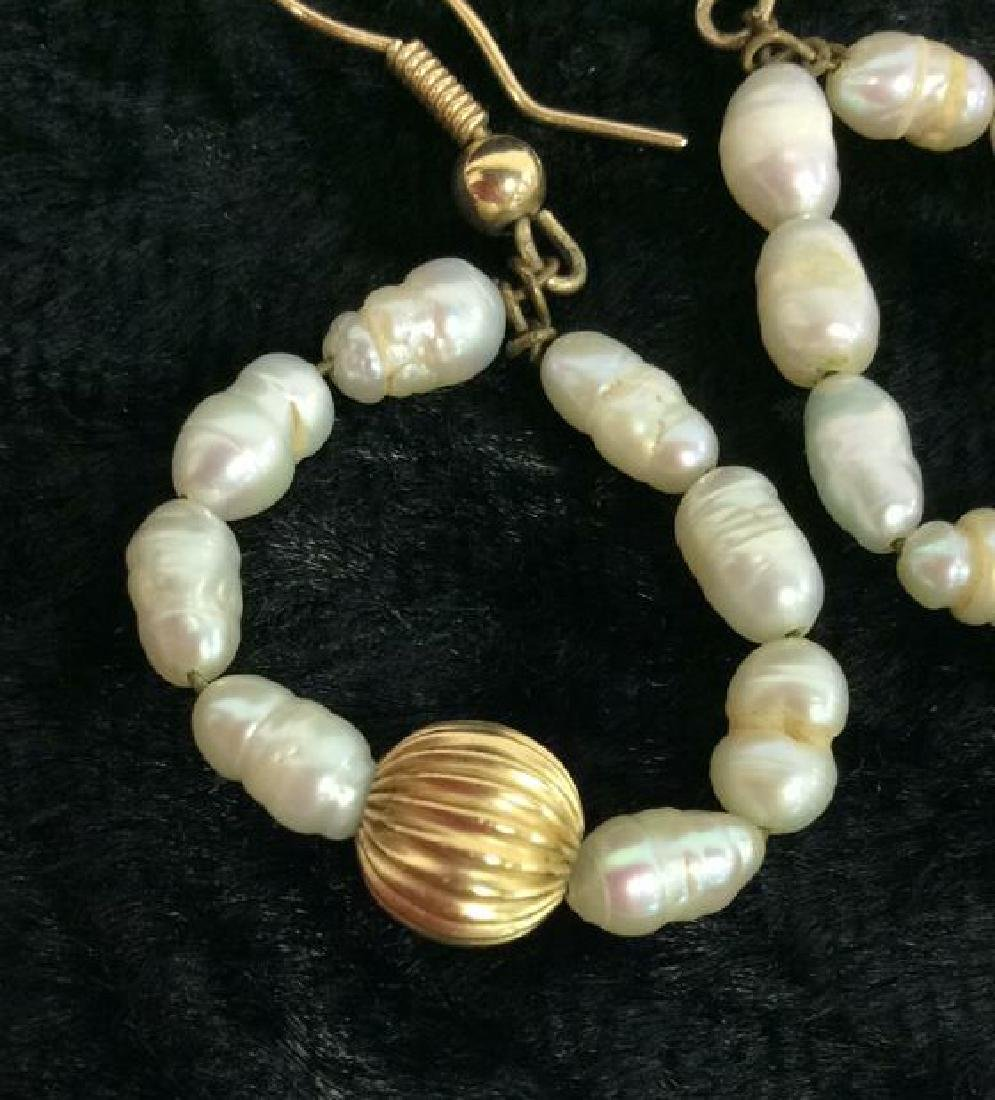 Lot 3 Pearl And Gold Toned Metal Women's Jewelry - 4