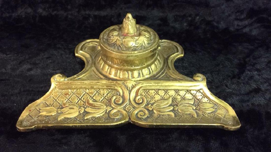 Vintage Brass Toned Metal Inkwell