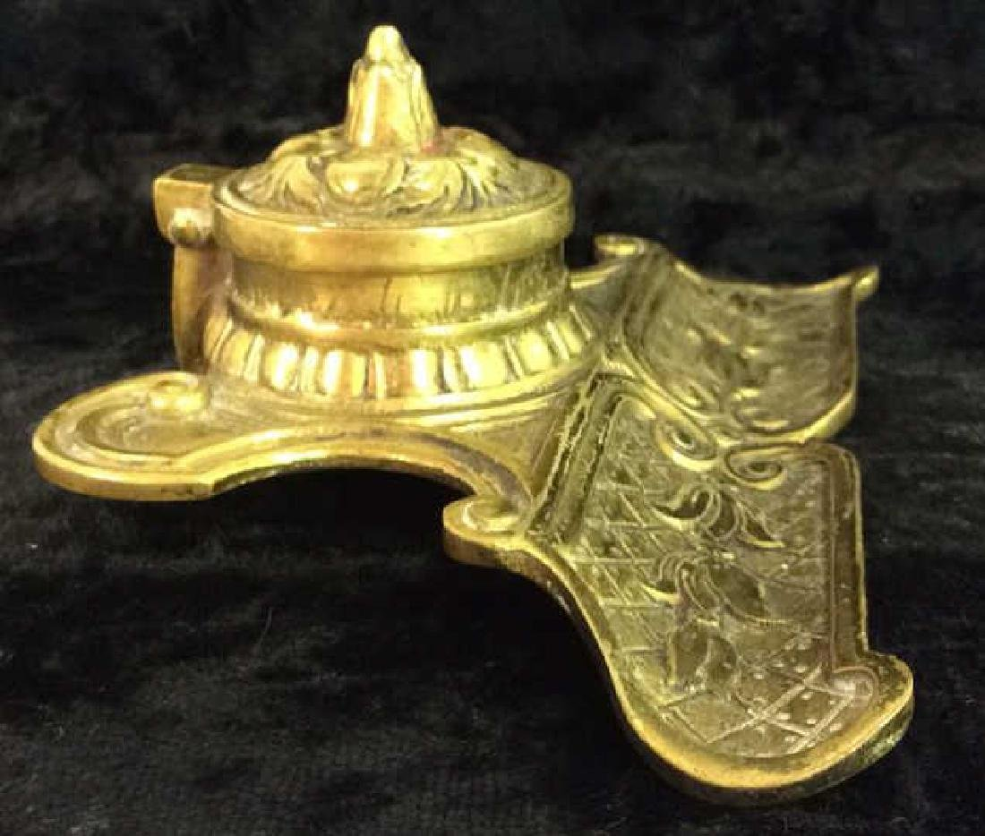 Vintage Brass Toned Metal Inkwell - 3