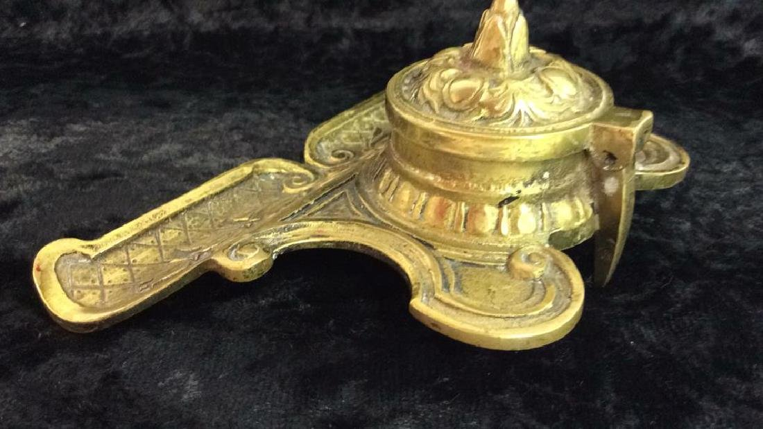 Vintage Brass Toned Metal Inkwell - 5