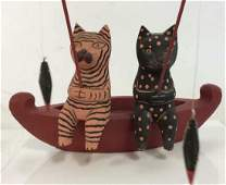 Whimsical Carved Wood Cats Fishing Figurine