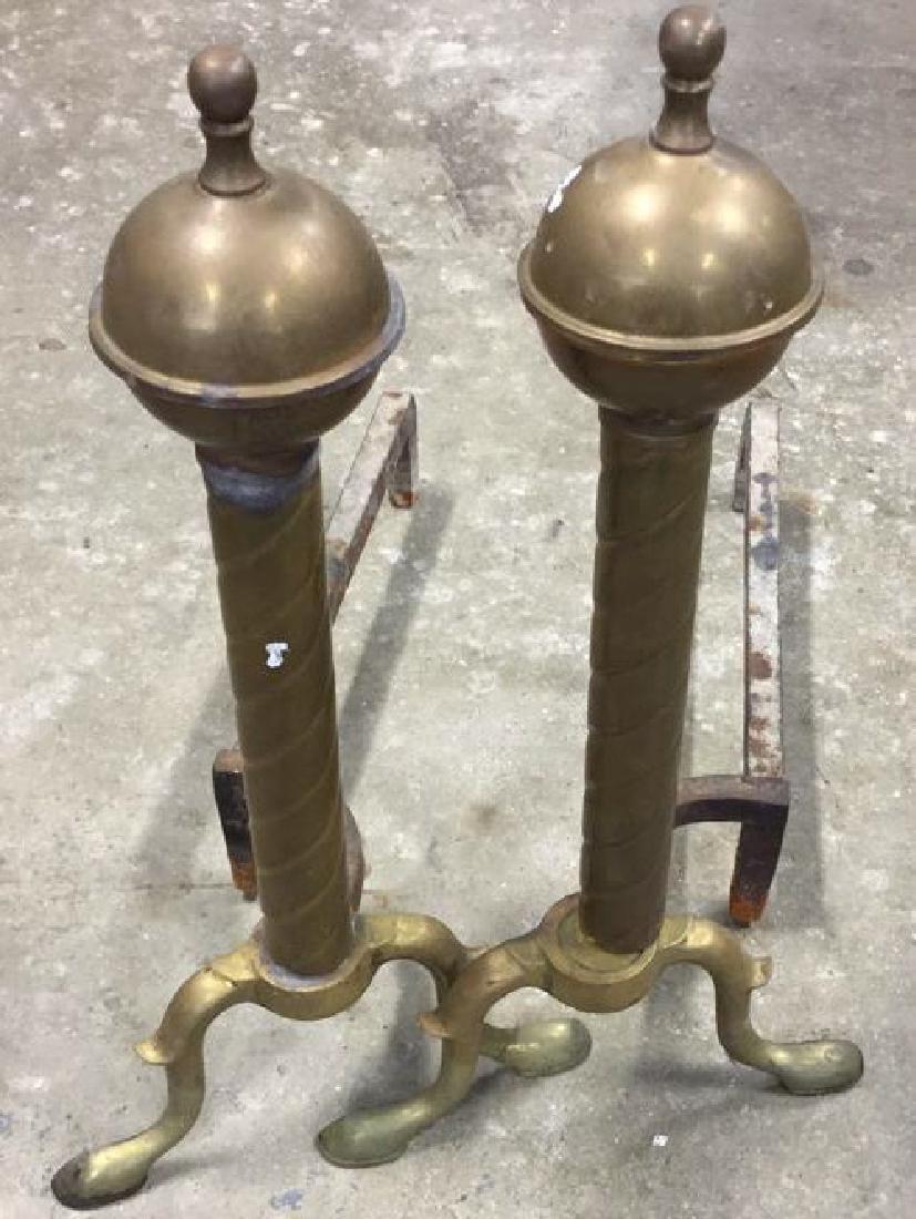 Pair Vintage Brass Orb Finial  Iron Andirons