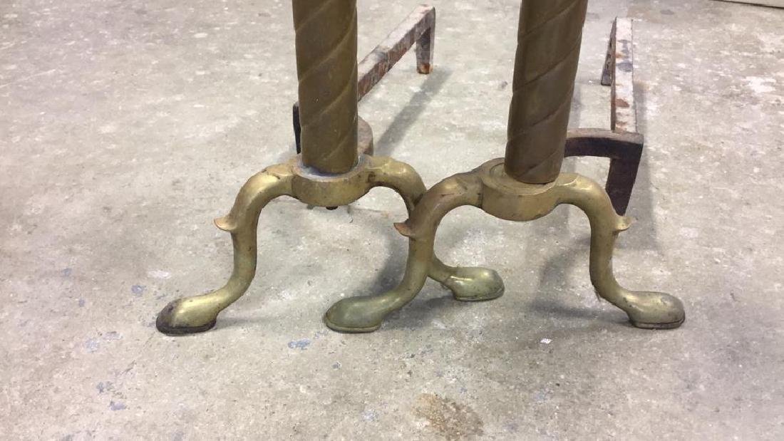 Pair Vintage Brass Orb Finial  Iron Andirons - 3