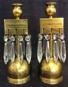 Pair Gold Toned Poss Brass Candlestick Holders